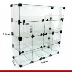 Balcão modulado de vidro, 61cm x 30cm x 30cm com 13 casulos