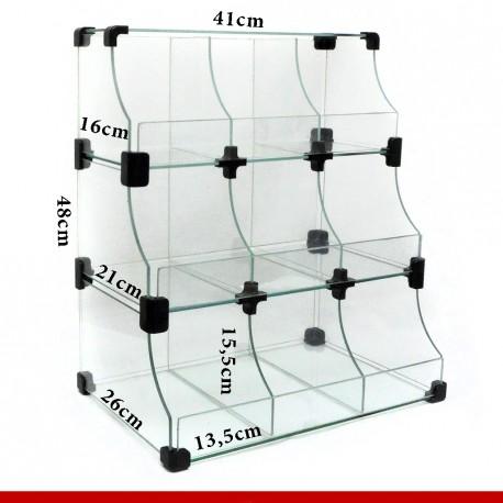 Balcão modulado de vidro, 41cm x 48cm com 9 casulos em três níveis.