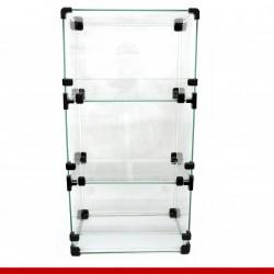 Balcão modulado de vidro, 31cm x 71cm com 3 casulos.