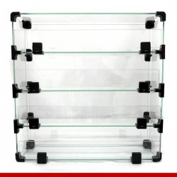 Balcão modulado de vidro, 42cm x 42cm com 4 casulos.