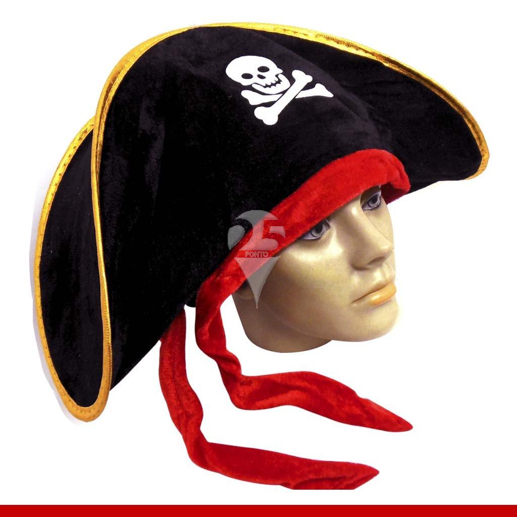 Chapéu pirata de luxo com laço - Artigos de Halloween. Loading zoom 82063a301a2