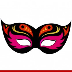 Máscara de carnaval neon - 6 peças