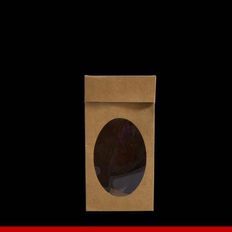 Caixa Kraft para ovo de páscoa com visor - 10,5 x 10,5 x 20 - Pacote com 10 unidades