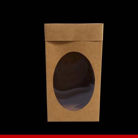 Caixa Kraft para ovo de páscoa com visor - 14 x 14 x 25 - Pacote com 10 unidades