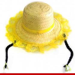 Chapéu de palha chiquinha - Artigos de festa junina