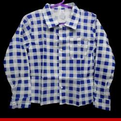 Camisa caipira juvenil azul- Roupas para festa junina