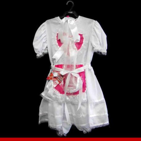 Vestido de noiva caipira infantil coração vermelho - Roupas para festa junina