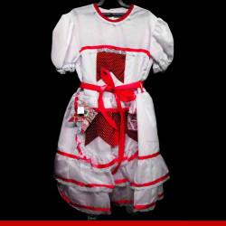 Vestido de noiva caipira infantil bandeirinha vermelha - Roupas para festa junina