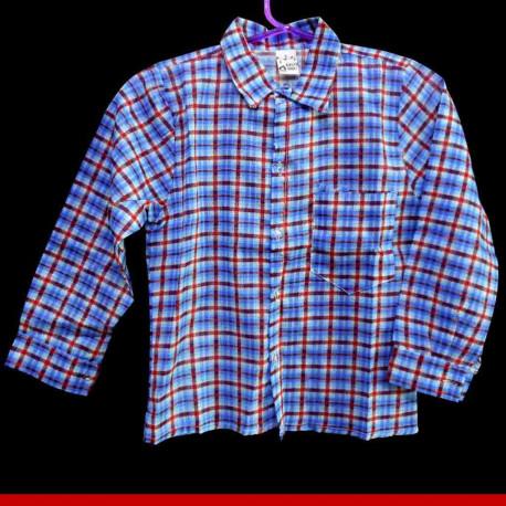 Camisa xadrez juvenil azul e vermelha - Roupa junina