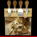 Jogo de facas para queijo com tábua de vidro - Casa e cozinha