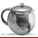 Bule para chá e café em aço inox e vidro - 1 unidade