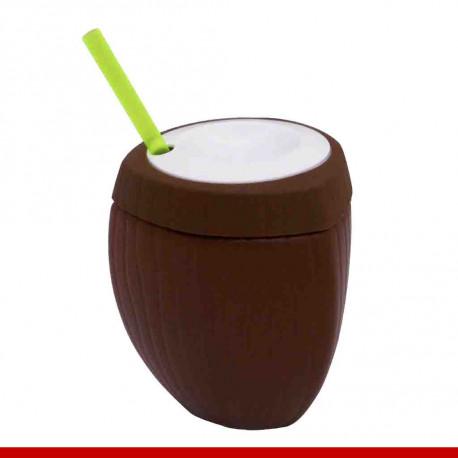 Copo coco com canudo - 1 peça - Utilidades domésticas