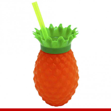 Copo abacaxi com canudo - 1 peça - Utilidades domésticas