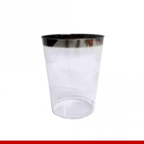Copo água luxo borda prata - 12 peças - Descartáveis de luxo