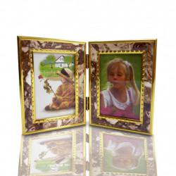 Porta Retratos Duplos Estilo Retrô com molduras lisa ou estampada - 4 tamanhos