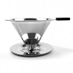 Coador de café Pour Over com filtro reutilizável em aço inox