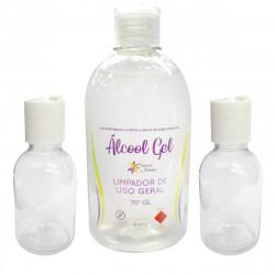Alcool Gel 70º Higienizador para Mãos 500ml + Dois (2) Frascos para Uso Portátil