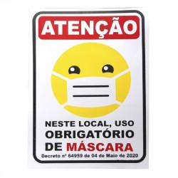 Placa de sinalização Uso Obrigatório de Máscara e Higiene
